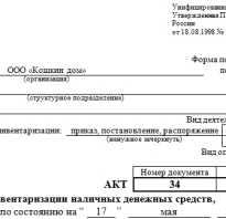 Акт пересчета денежной наличности образец
