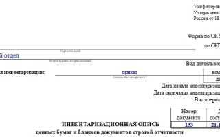 Инвентаризационная опись денежных документов бланк