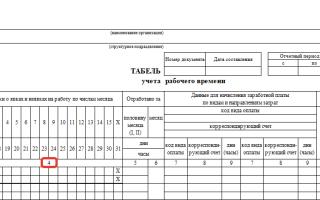 Цифры в табеле учета рабочего времени