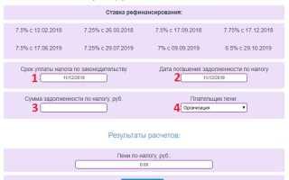 Расчет пеней на сайте налоговой